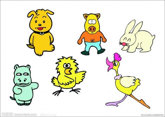 小动物手抄报插图集,包括:小狗,小猪,小兔子,河马,小鸟,鸭鸭