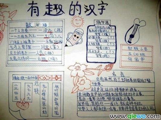 关于爱汉字的手抄报版面--有趣的汉字,贝壳虽然死了,却把美丽留给