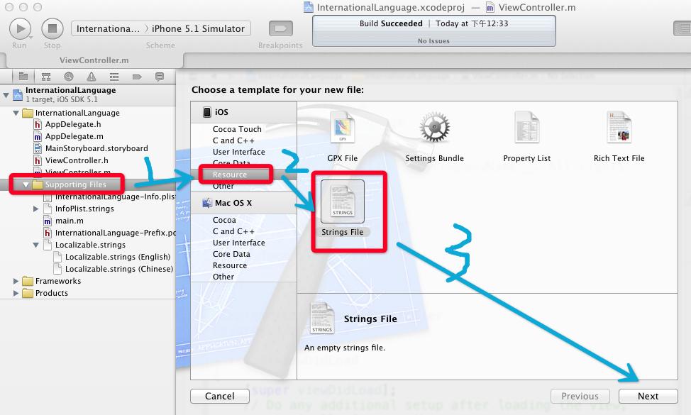 iOS开发-XCode 应用国际化设置