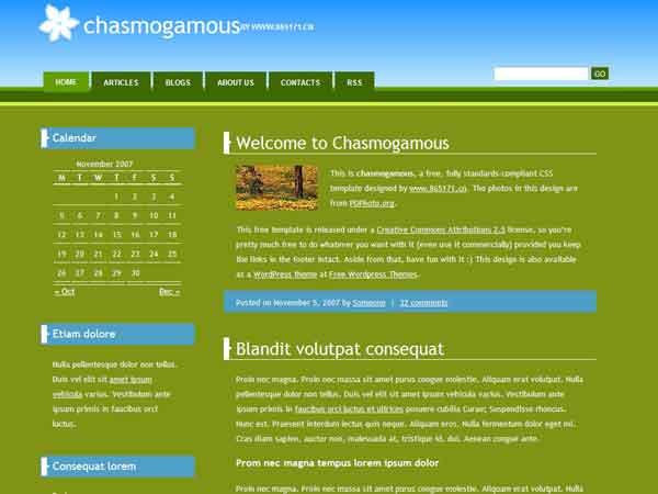 div+css绿色博客模板