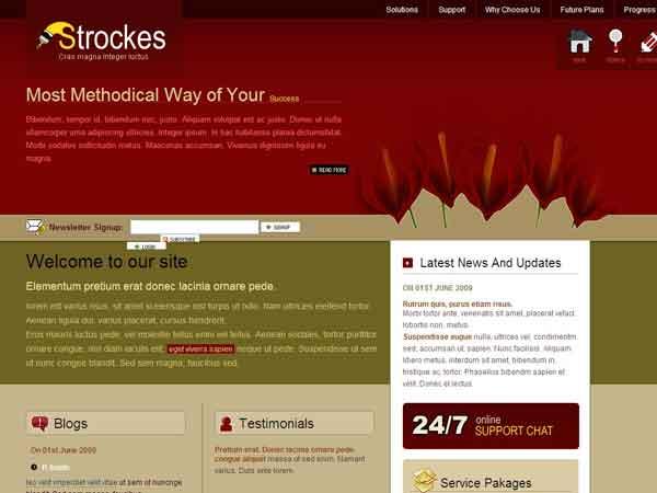 div+css红色全屏博客模板